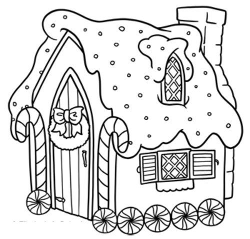 Gingerbread House Coloring Page • FREE Printable PDF from PrimaryGames | 479x500