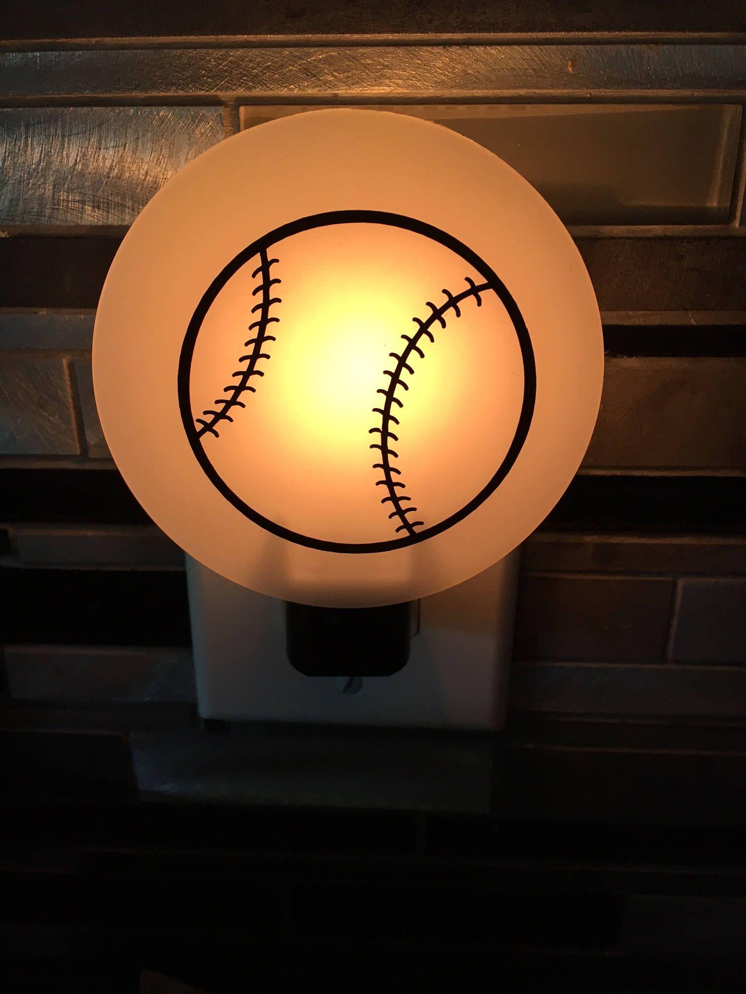 Baseball Night Light Decor Sports Room Art