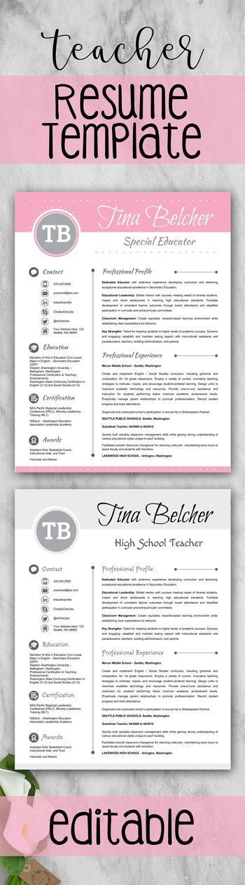 2 Versions Of Teacher Resume Template Teacher Cv Template Cover Letter And References Teacher Resume Template Teacher Cv Template Teacher Resume