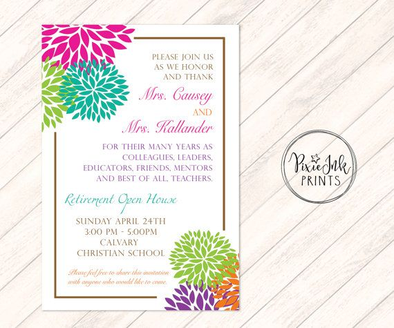 Retirement Invitation Floral Retirement Party By Pixieinkprints
