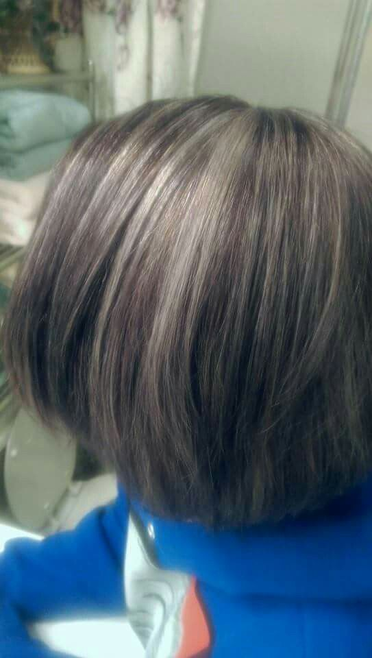Silver Highlights With Dark Brown Base Hair And Makeup Pinterest