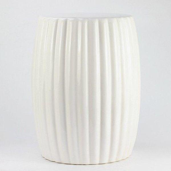 Great Matte White Stripe Pleated Ceramic Patio Stool Of Ceramicstool.com