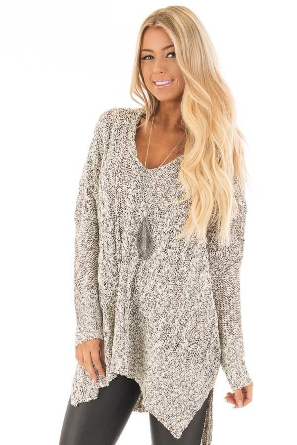 Black and Ivory Two Tone V Neck Tunic Sweater | Tunic sweater ...