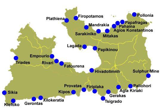 Map Of Beaches On Milos Cyclades Islands Island Beach Cyclades