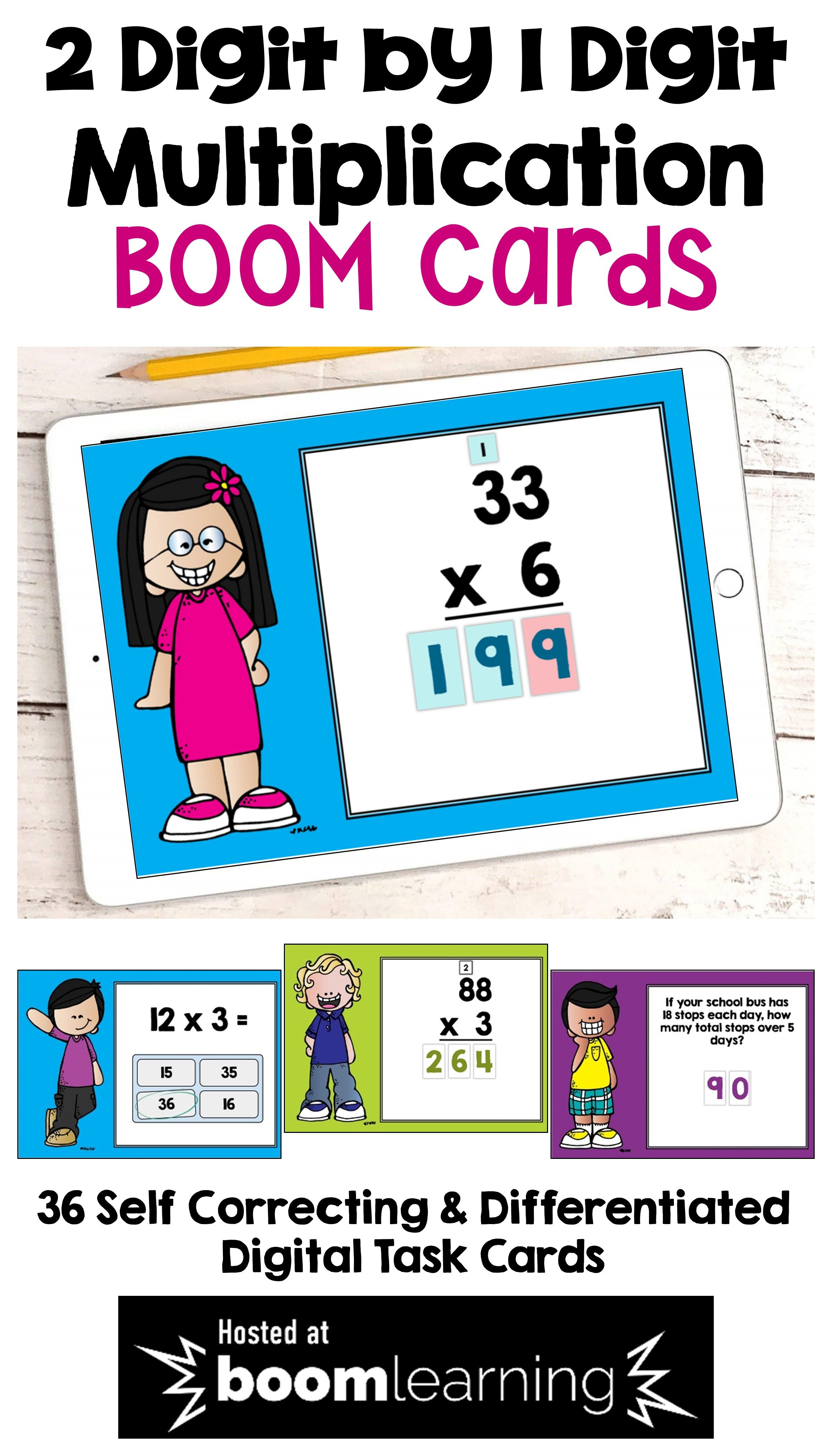 Multiplication Boom Cards For 2 Digit By 1 Digit