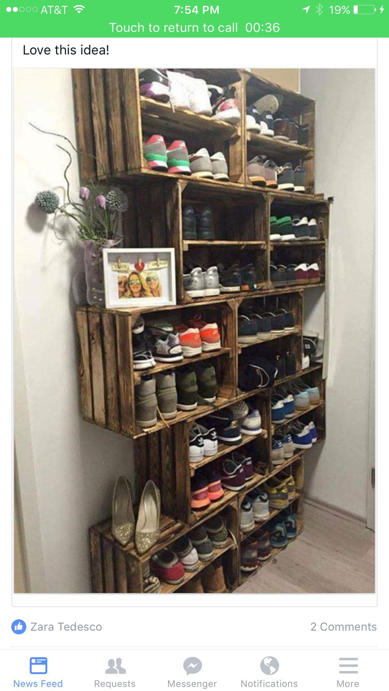 Crate shoe racks u2014 not zig zagged