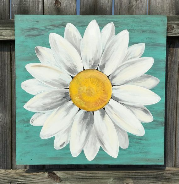 Original Daisy Painting On A Wood Panel Turquoise Blue Distressed