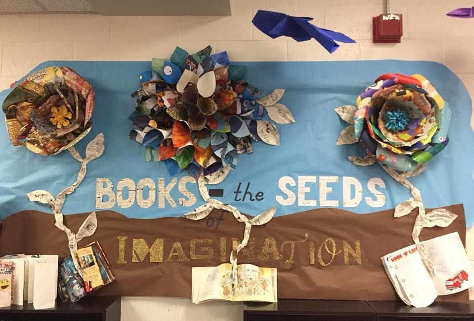 March Library Bulletin Board Made Giant Paper Flowers With