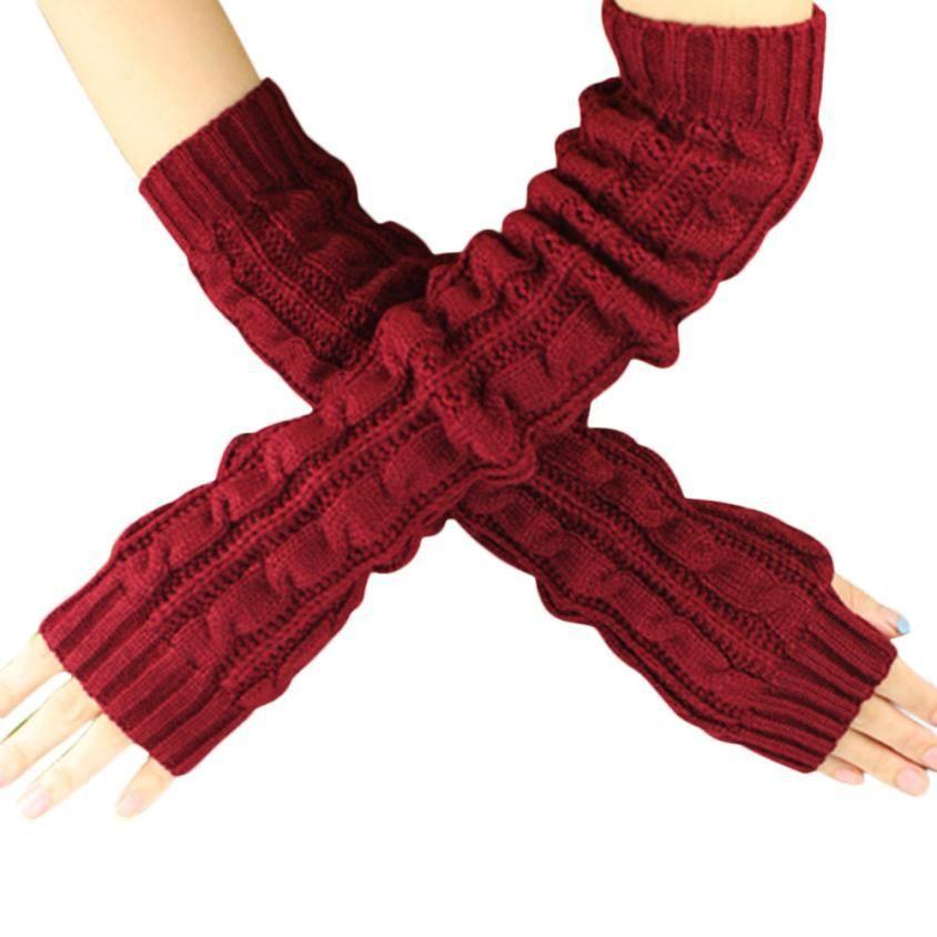 579c058a9ebe Aliexpress.com  Comprar Primavera otoño mujeres lana manguitos de invierno  guantes sin dedos moda botón de punto manopla guantes largos guantes guantes  ...
