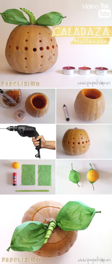 Calabaza de Halloween usando taladro http//papelisimo