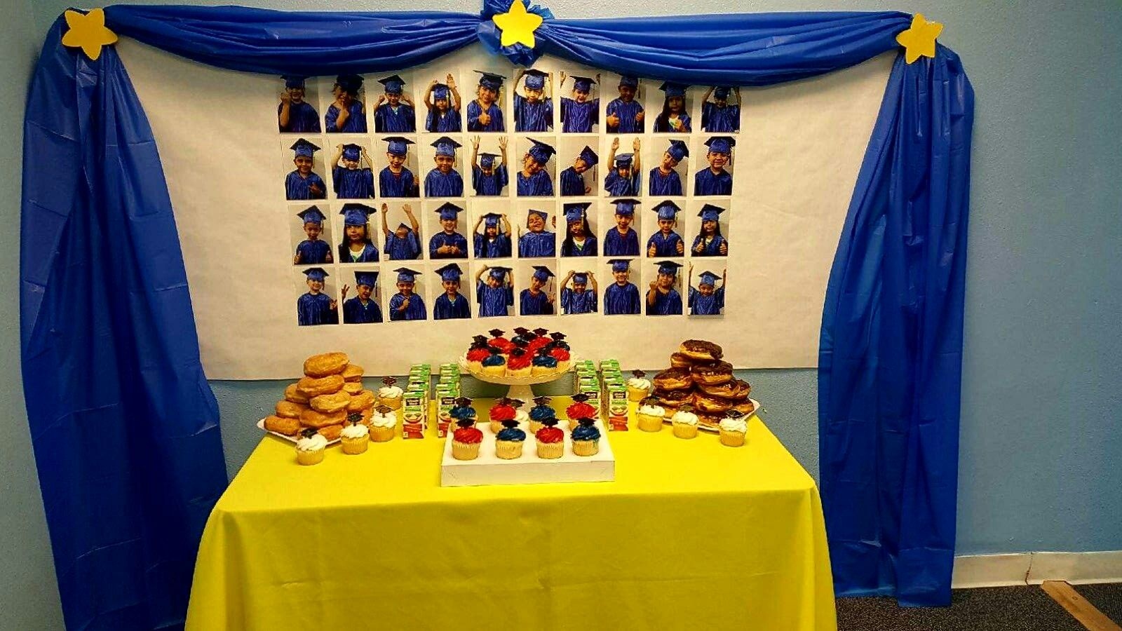 Simple Preschool Graduation Refreshment Table With Picture Collage Took Multiple P Preschool Graduation Kindergarten Graduation Kindergarten Graduation Themes