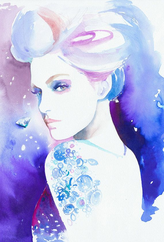 Print of Watercolour Fashion Illustration. Titled - Diamonds are Forever