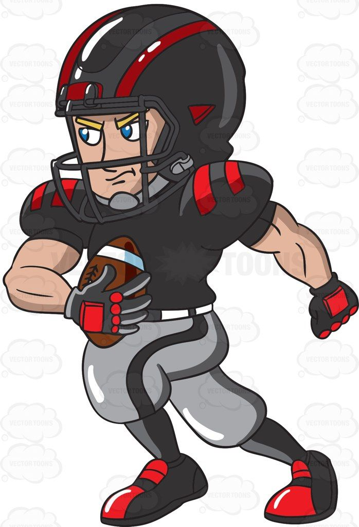 A Football Player In A Running Play Cartoon Clipart