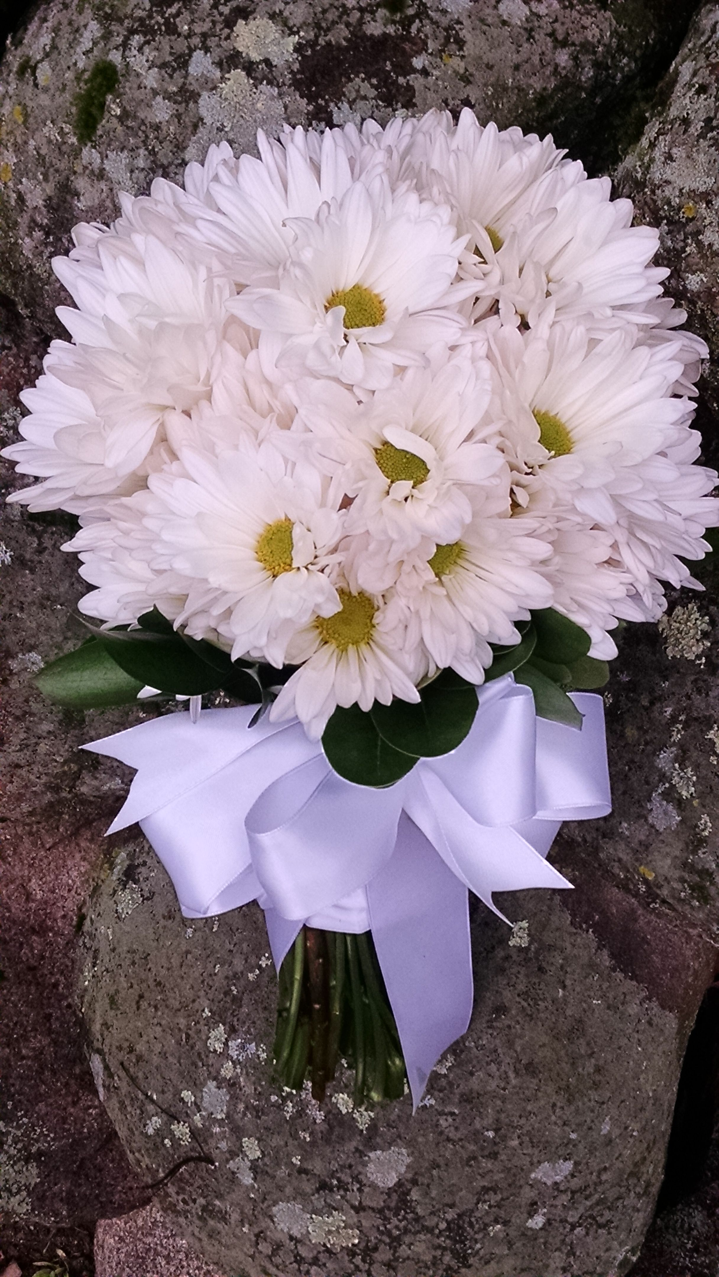 Loved It Pinned It A Blooming Envy Design White Daisy Mum Bouquet Real Wedding Flowers Mum Bouquet Wedding Flowers