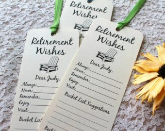 Set Of 8 Retirement Wishing Tree Tags Bookmarks Party Idea Cards Wish By FreeSpiritCrafting On Etsy