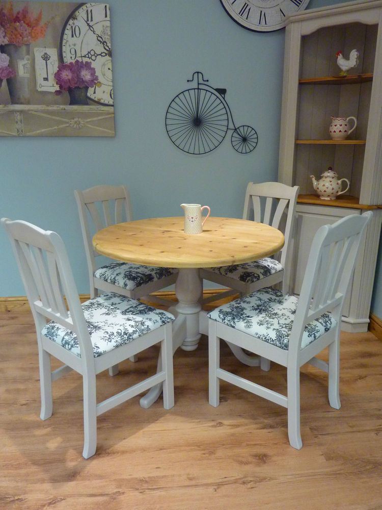 Shabby Chic French Style Solid Pine Dining Farmhouse Round