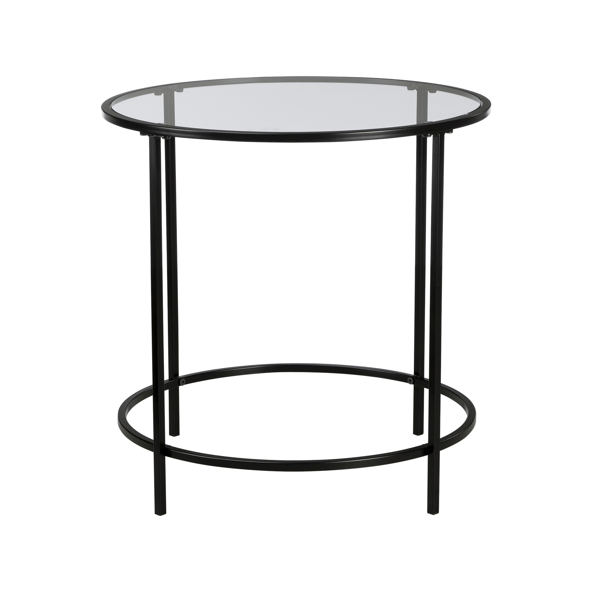 Soft Modern Round Side Table Black Clear Glass Sauder Black Side Table Round Side Table Black Round Side Table