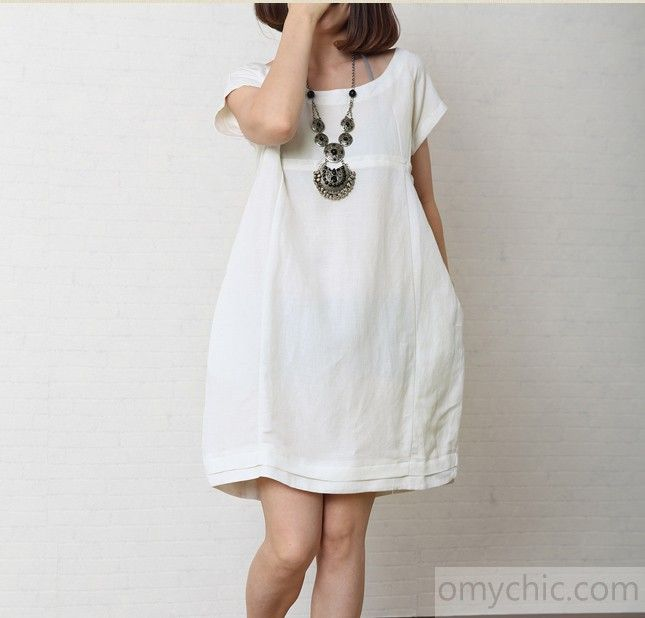 Solid white summer women linen dress plus size cotton sundress ...
