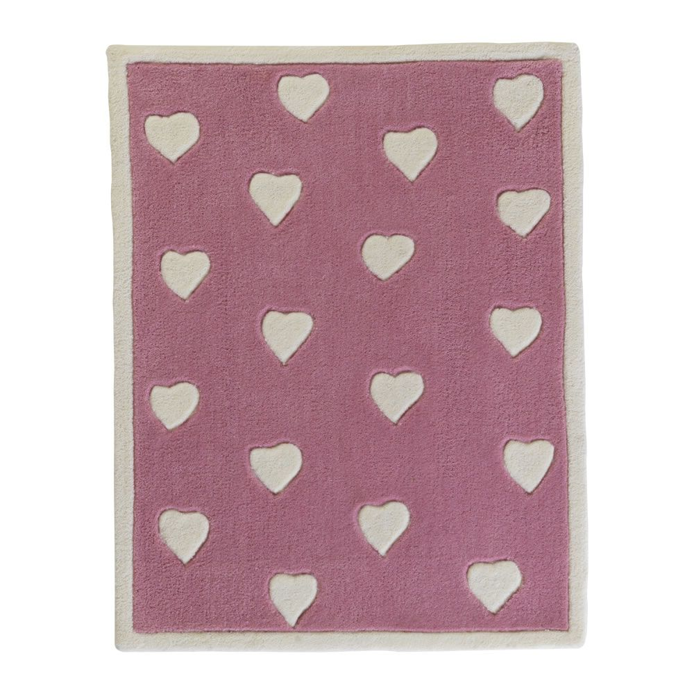 Wilko Hearts Rug White And Pink At Wilko.com