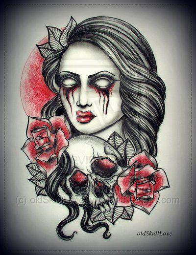 Girl With Skull Tattoo Design By Oldskulllovebymw On Deviantart Rh Com Gothic Vampire Drawings Professional