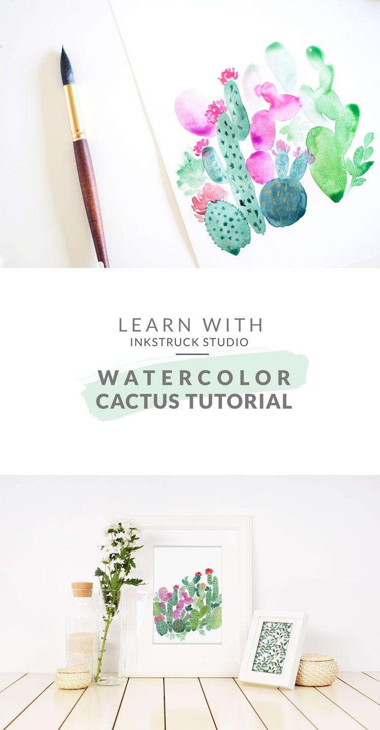 Watercolor Cactus Tutorial Watercolor Cactus Cactus Painting