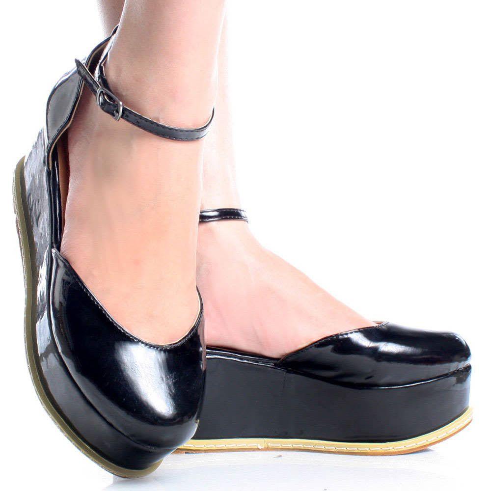 Black-Patent Closed Toe Ankle Strap