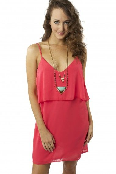 Hot To Trot Dress $29.99 #sophieandtrey #dresses #red #party #day #layered