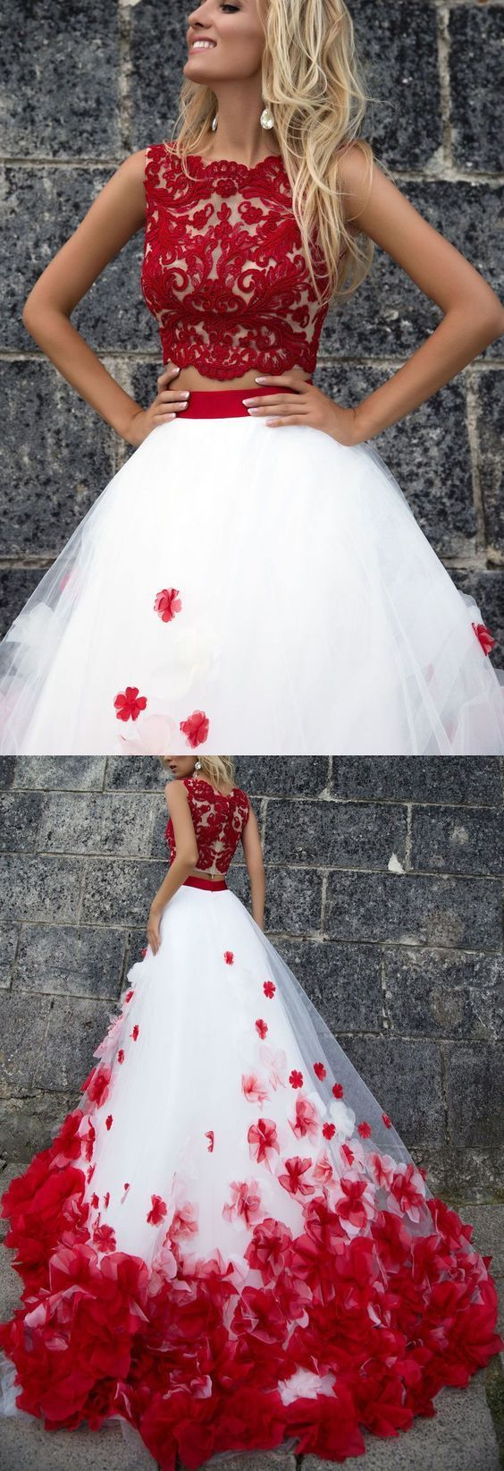Sexy two pieces red lace white skirt a luxury quinceanera in