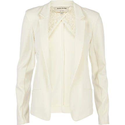 Cream fitted blazer #riverisland