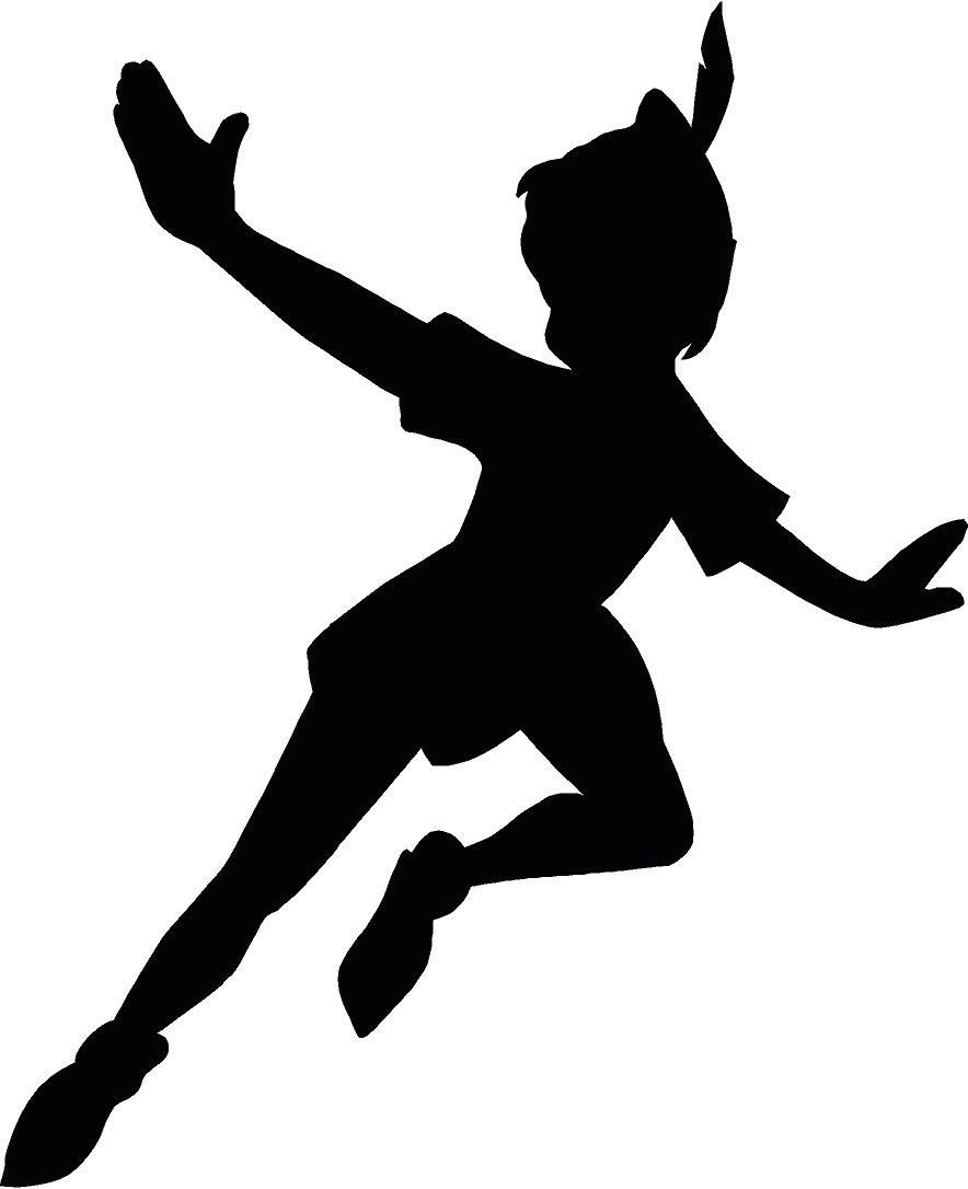 Peter Pan Flying Silhouette 12.25x15 Vinyl Decal Wall Art