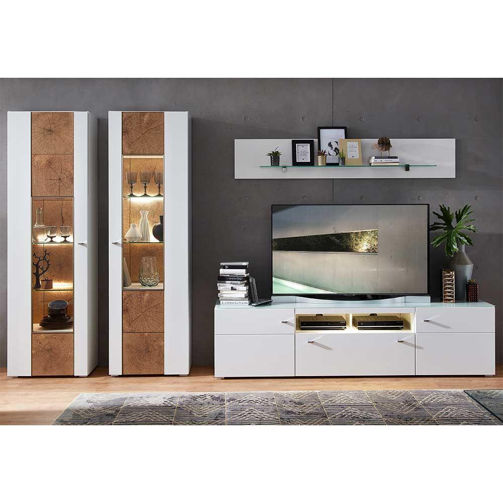 Wohnzimmer Schrankwand in Weiß Holz Dekor modern (18-teilig) Jetzt