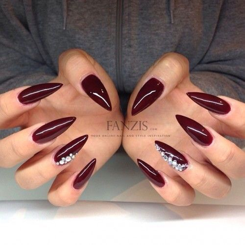 Red Nails With Silver Diamonds