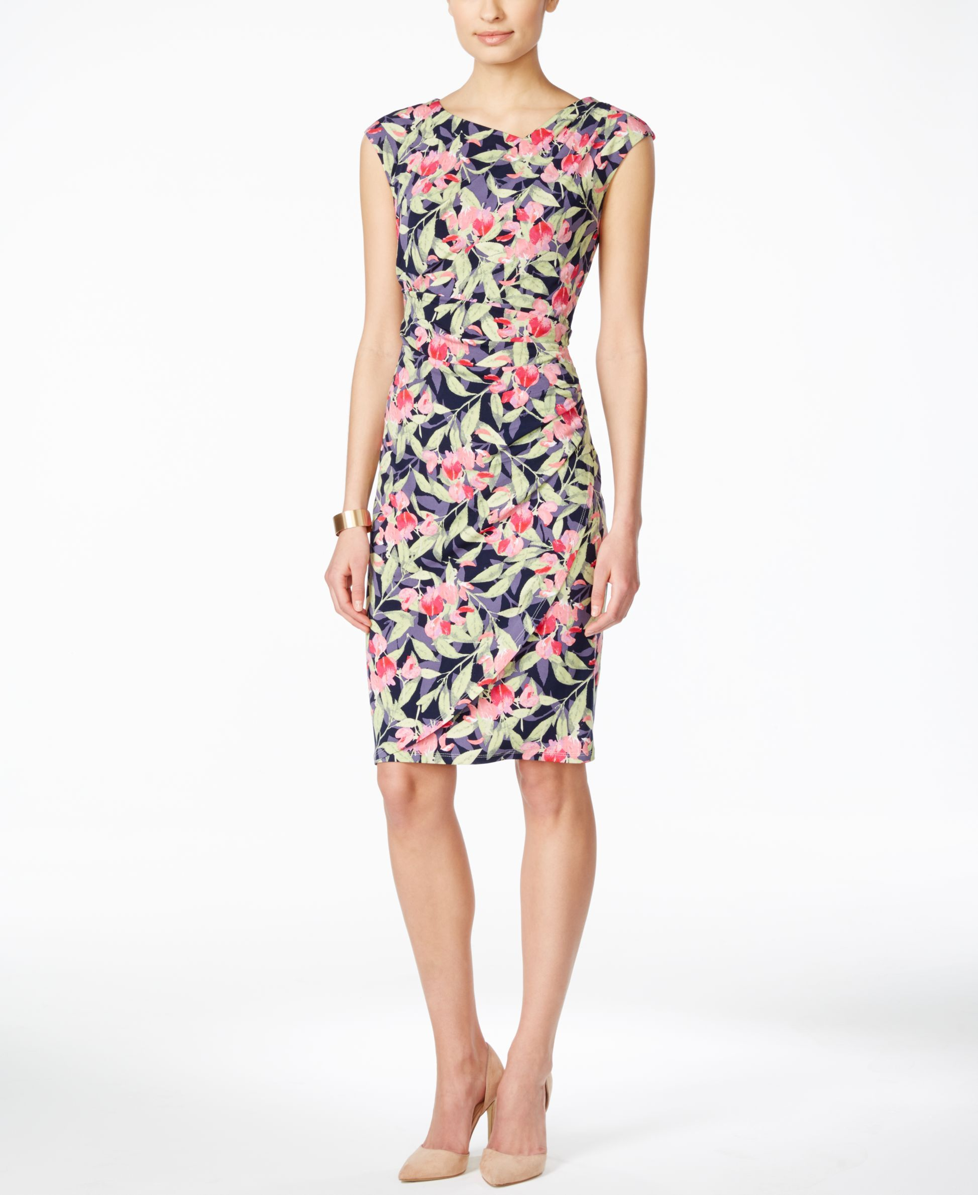 Jcpenney dresses for wedding guest  Connected CapSleeve FloralPrint Gathered Sheath Dress  dresses