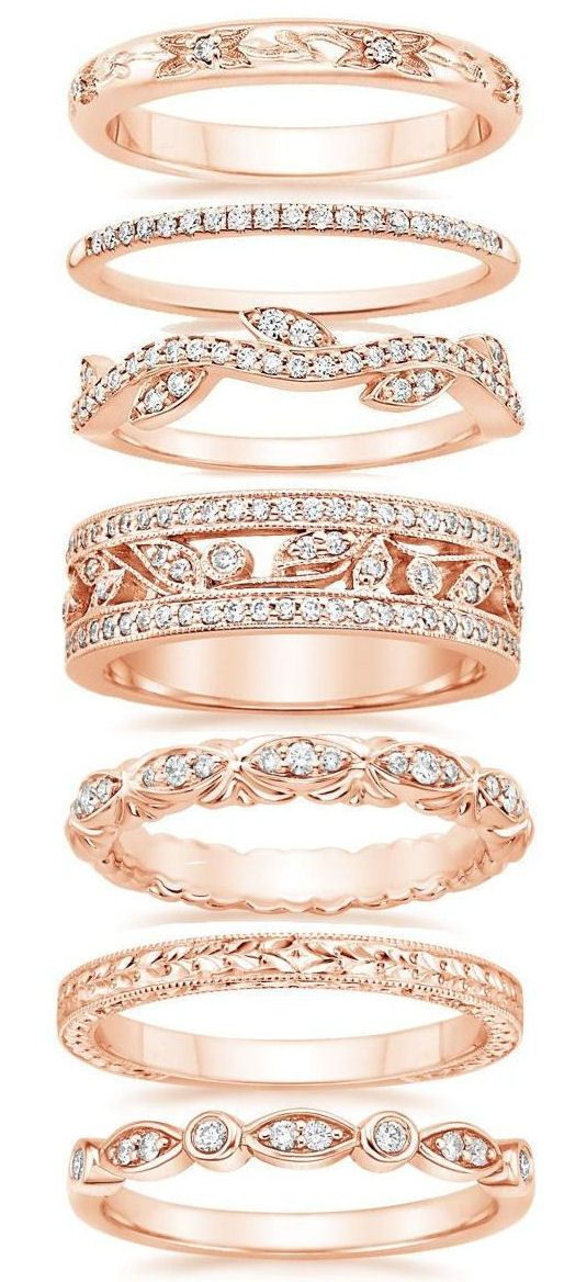 2018ee59e60abf Rose Gold Wedding Bands ❤ … | ** Everything Beauty ** | Rings…