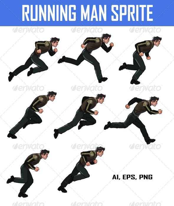 Vector Illustration Of Running Man Sprite For Your Game Project Available In Ai Eps And Png S Character Design Animation Running Cartoon Animation Reference