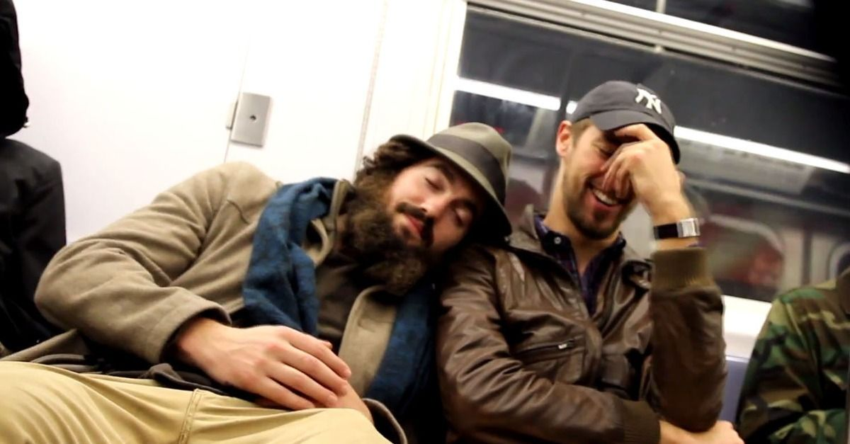 falling asleep on strangers brings out smiles on nyc subway video  falling asleep on strangers brings out smiles on nyc subway video