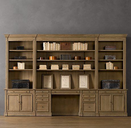 Library Desk Wall System Restoration Hardware Wall Storage Unit Build A Closet Wall Unit