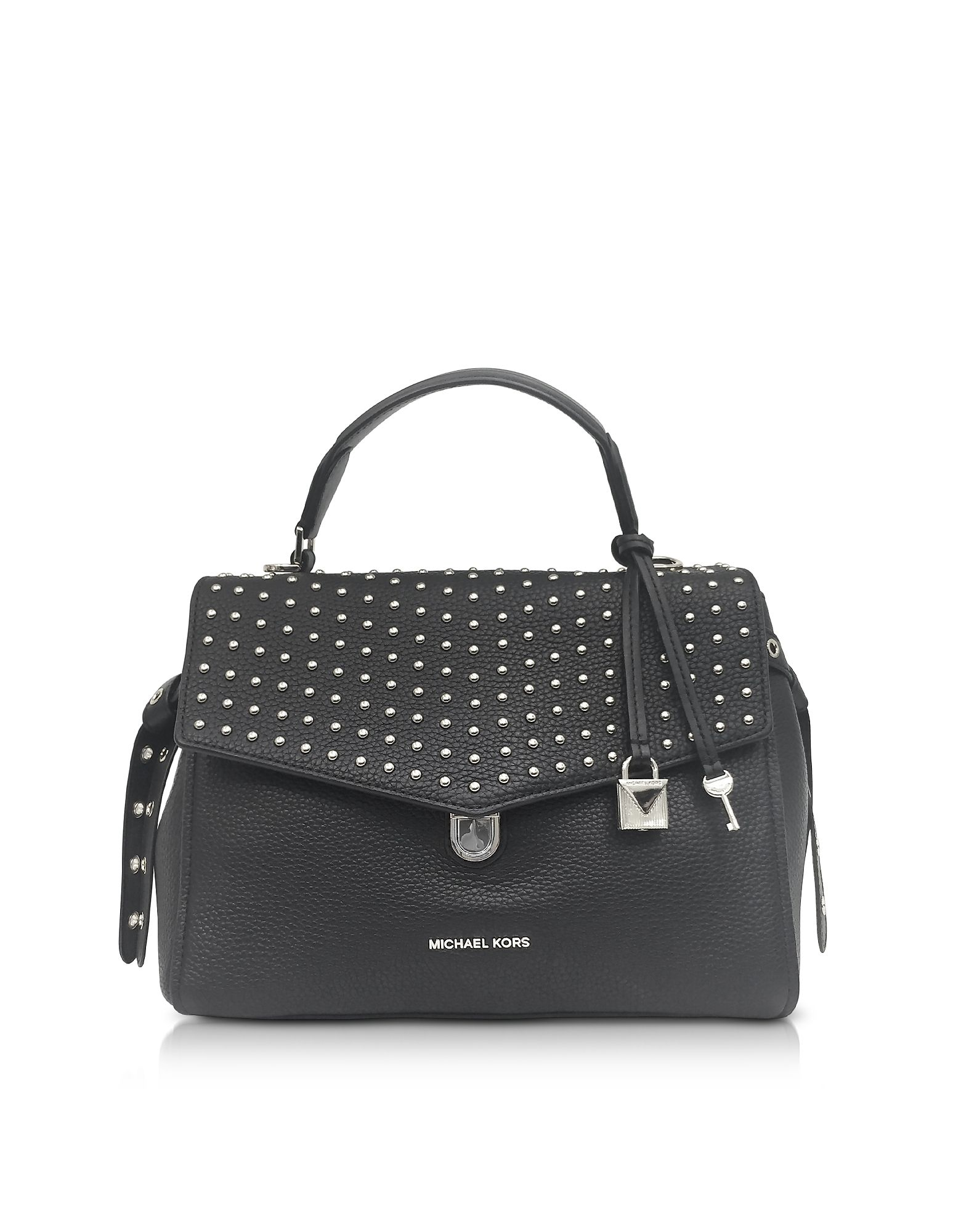 87d5d77906de MICHAEL KORS BRISTOL BLACK STUDDED LEATHER TOP HANDLE SATCHEL BAG.   michaelkors  bags  leather  hand bags  satchel