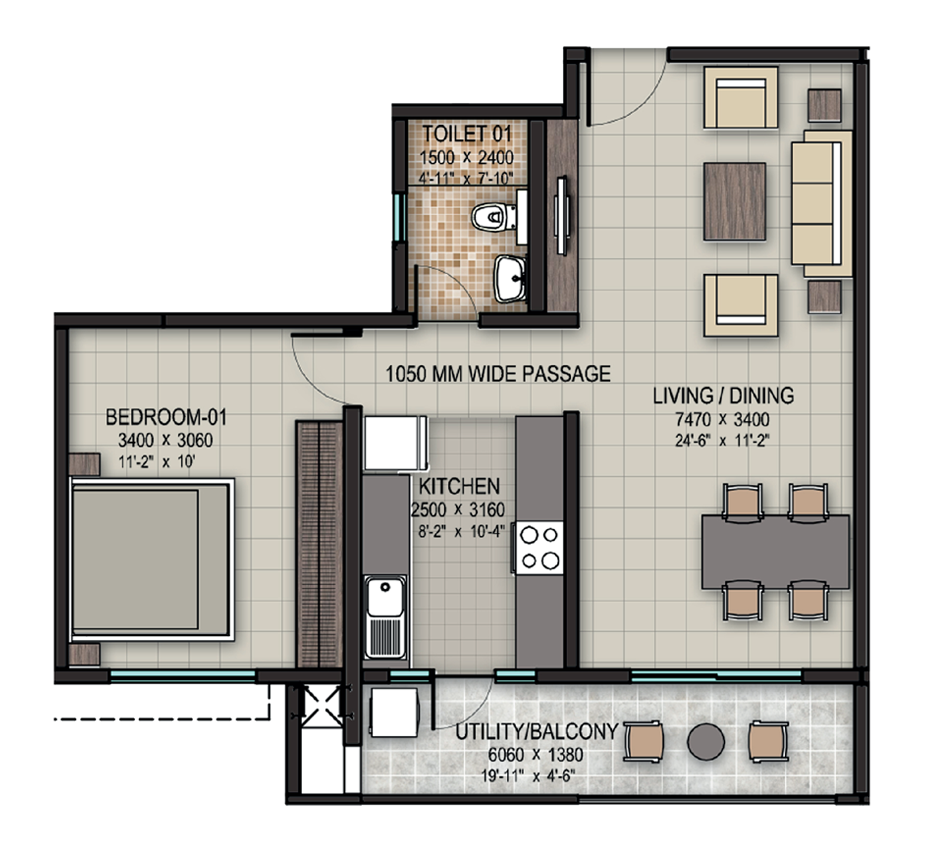 Sobha 1bhk Floor Plan Small Apartment Plans Floor Plans Bungalow House Plans