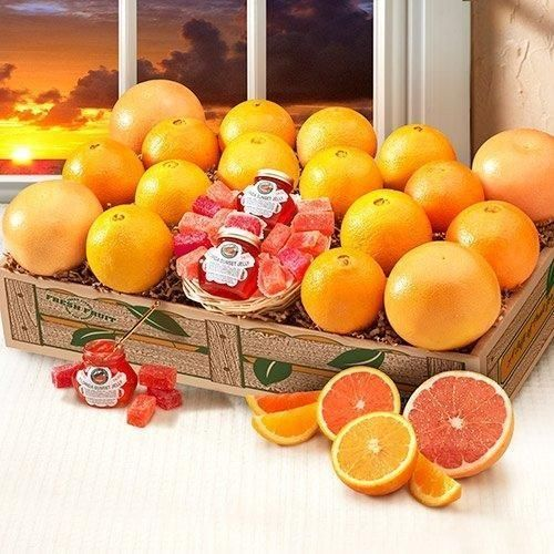 PRE-ORDER NOW FOR ARRIVAL WEEK OF THANKSGIVING. ORDER MUST BE PLACED BY DECEMBER 12TH TO GUARANTEE DELIVERY BY CHRISTMAS. ***ESTIMATED DELIVERY IS 2 WEEKS AFTER ORDER DATE**** Imagine their faces when they open this beautiful Florida Sunset Deluxe citrus gift box! File with the sweetest and juiciest Florida citrus: Golden Navels, Ruby Red Grapefruit and Red Scarlet Navels, (2) 3 oz. jars of Florida Sunset Jelly and Strawberry and Orange Delicacy candies. Order now! **CANNOT BE SHIPPED TO: TX,