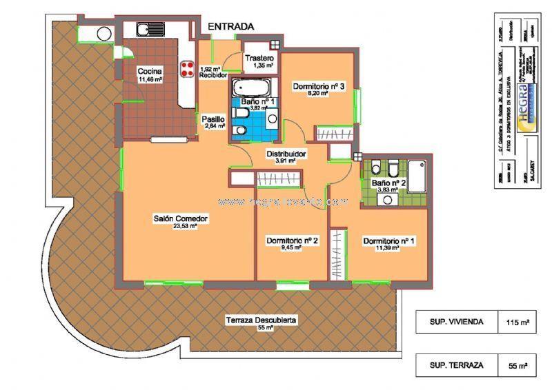 Plano de distribuci n 3 dormitorios 2 ba os cocina for Planos de cocina y bano
