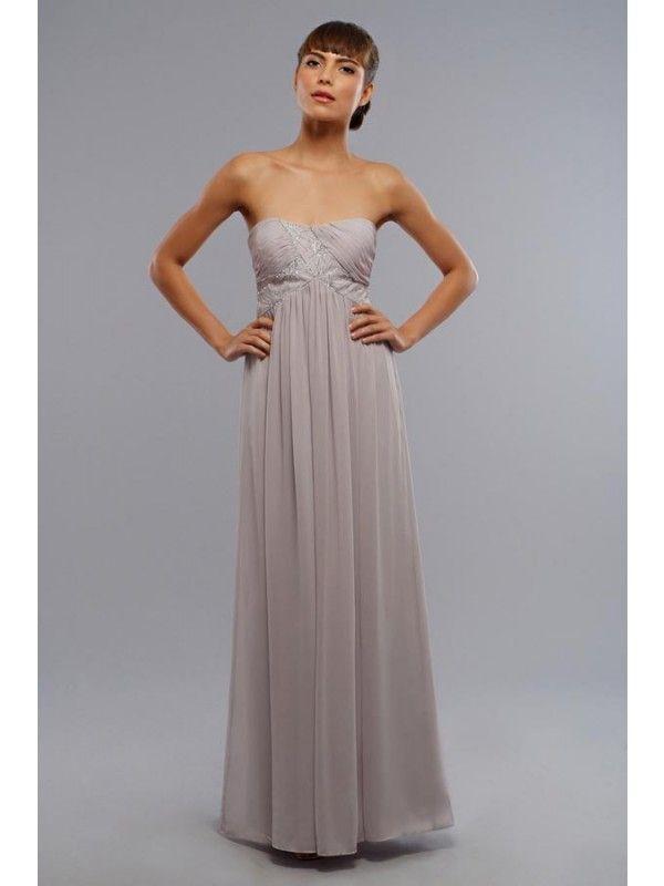 Strapless Long Bridesmaid Dress I Silver Chiffon | Long Bridesmaid ...