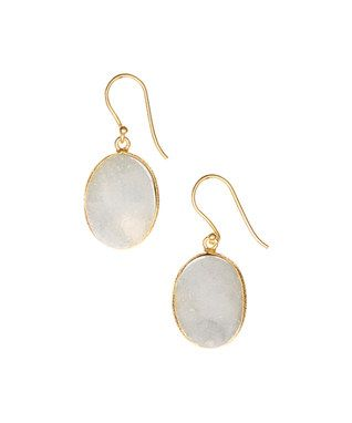Gold & White Druzy Crystal Oval Drop Earrings