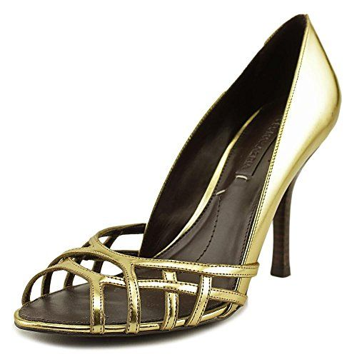 BCBGeneration Womens kacie Leather Open Toe Classic Pumps Gold Size 10.0