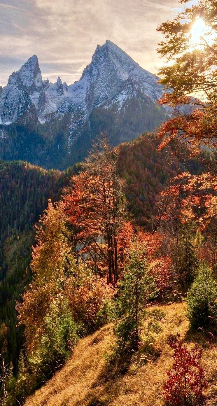 Gorgeous Mountains Some Covered In Fall Foliage And Others Covered In Snow Beautiful Landscape Wallpaper Autumn Landscape Fall Wallpaper