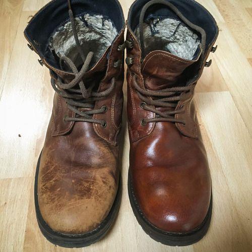 本革のブーツを磨いたら01