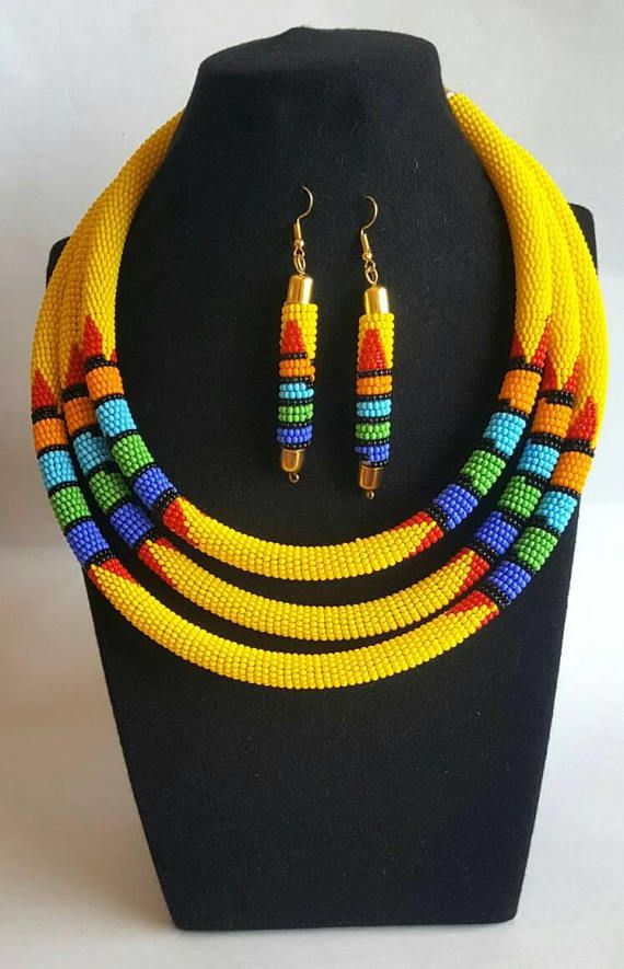 5434a1534b1077 African necklace, Zulu necklace, Maasai Beaded Necklace with matching  earrings,Yellow bead necklace