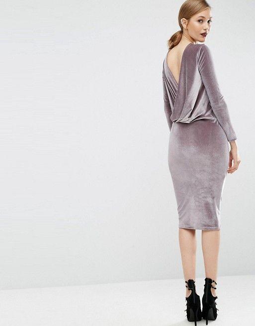 ASOS   ASOS Long Sleeve Velvet Wrap Back Midi Dress   Dress ...