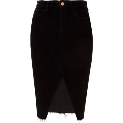 a4c83bf41 Black split front denim pencil skirt | Things to Wear | Denim pencil ...