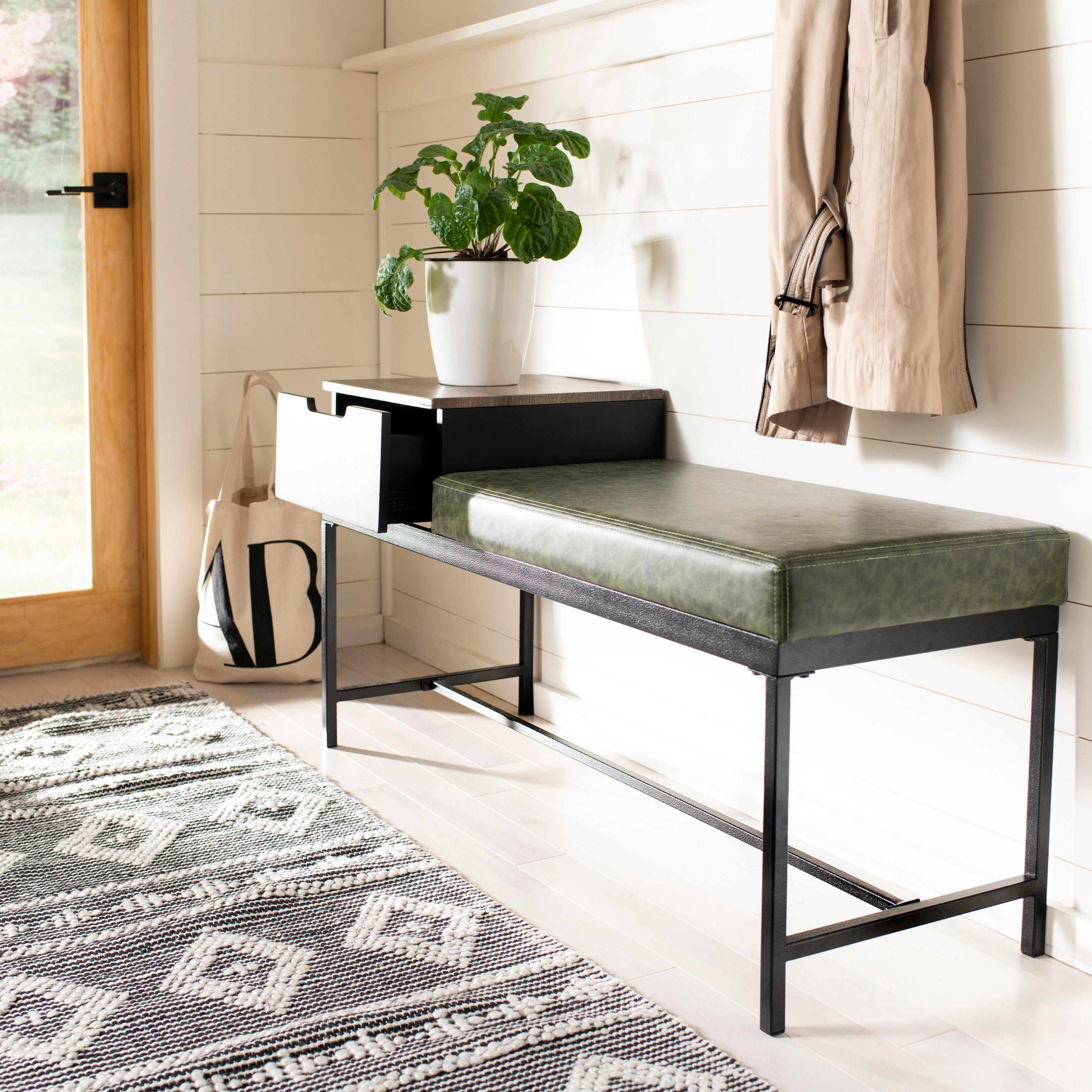 Peachy Safavieh Maruka Bench With Storage Grey Wash Dark Green Caraccident5 Cool Chair Designs And Ideas Caraccident5Info
